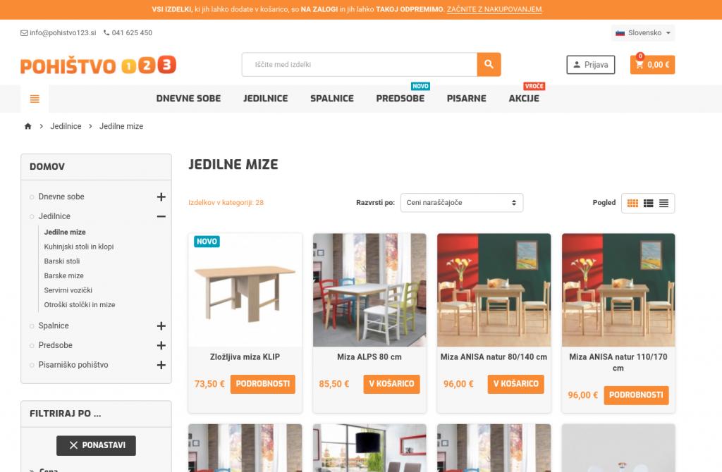 spletna trgovina Pohištvo123.si